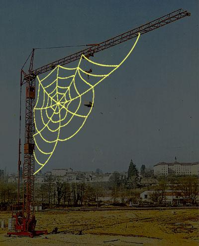 une grue à toile d'araignée Grue_toile